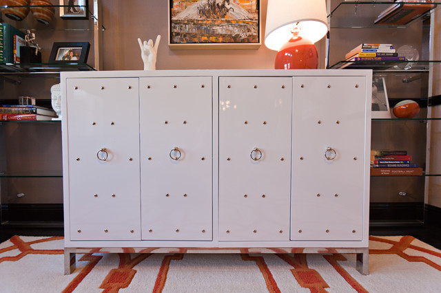 Studly White Lacquer Cabinet contemporary