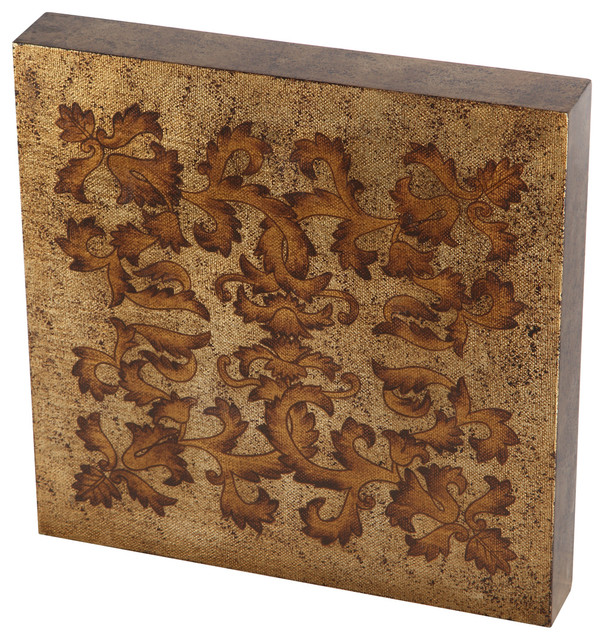 Wood Scroll Wall Decor : Gold bronze with copper tip leaf scrolls handpainted