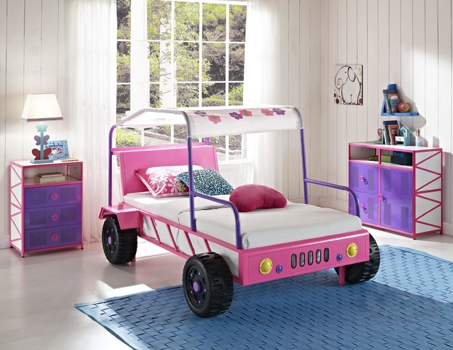 Girls Pink Jeep Buggy Bed