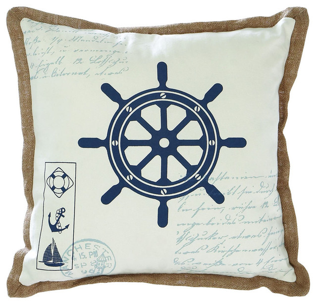 Fabric Pillow with Ship Wheel Design and Light Brown Outline - Traditional - Decorative Pillows ...