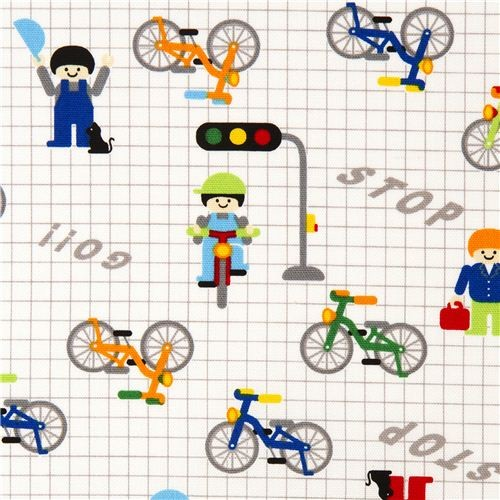 Kokka fabric for boys funny bicycles and traffic lights fabric