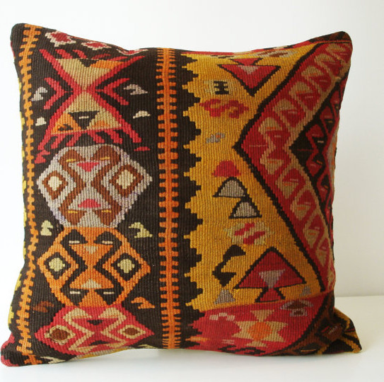 Turkish Kilim Throw Pillows : Sukan / Hand Woven - Turkish Antique Kilim Pillow Cover - 18x18 - Decorative Pillows - by Etsy