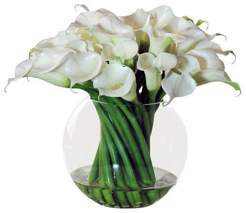Calla Lilies In Round Glass Bowl Vase Traditional