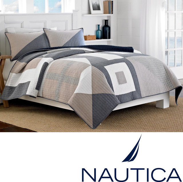 Nautica Seaview Cotton Reversible Quilt (Shams Sold Separately) contemporary-quilts-and-quilt-sets