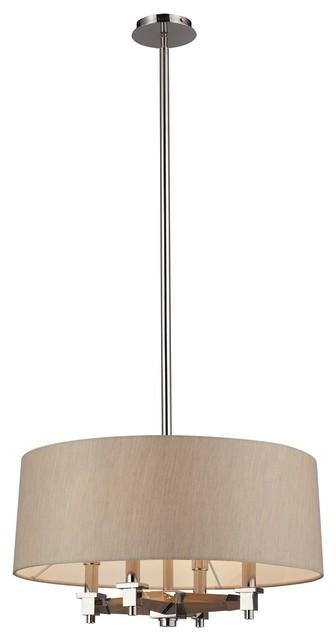 Jorgenson 4 Light Pendant In Taupe Wood And Polished Nickel modern-pendant-lighting