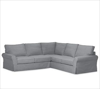 PB Comfort 3-Piece L Shaped Sectional Slipcovers, Twill Metal Gray traditional-sectional-sofas