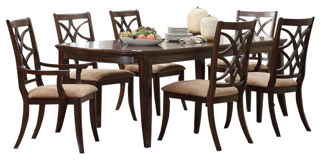 keegan 8 piece dining room set in brown cherry traditional dining sets