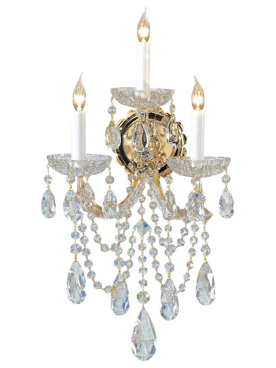 Crystorama - 3-Lights Gold Wall Sconce Draped with Crystal (Spectra) - Choose Crystal Type: Spectra.