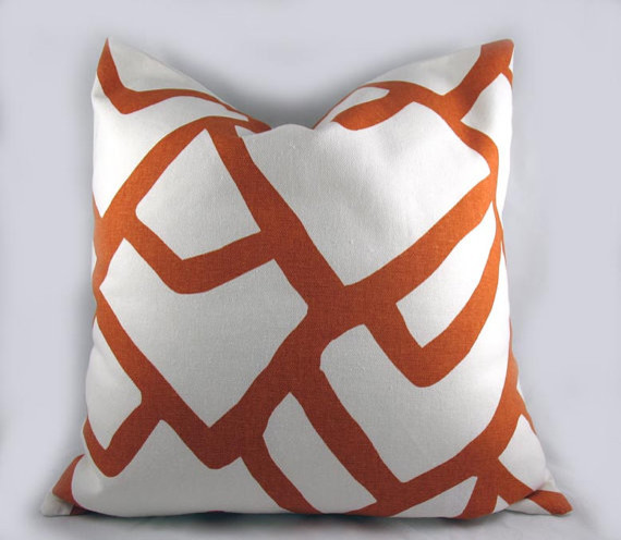 Decorative Pillow Cushion Cover Schumacher Zimba, Orange By Kimoley Deco contemporary pillows