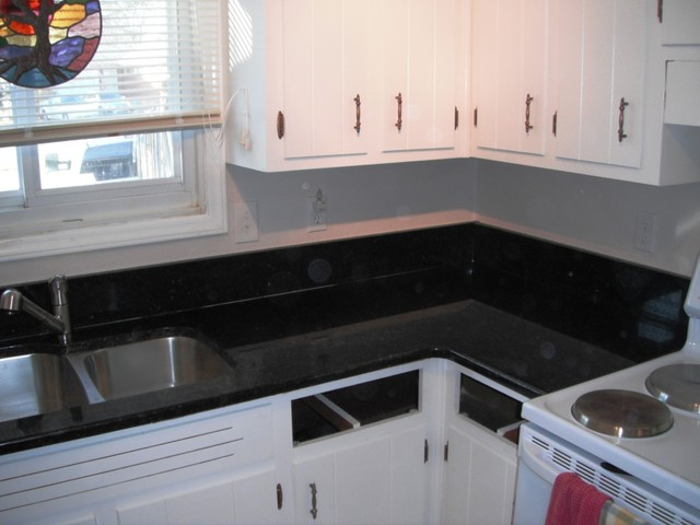 Uba Tuba Granite goes great with White Cabinets  Traditional
