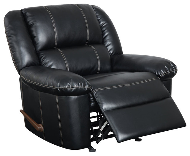 Global Furniture USA 9966 Bonded Leather Rocker Recliner Chair in Black traditional-chairs