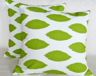 Lime Green Ikat Accent Pillow on the Carlisle Wide Plank Floors Blog