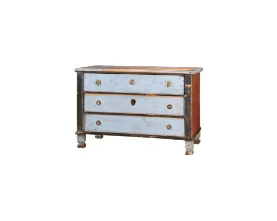 Eco Friendly Furnture and Lighting - Sweden c.1820 A terrific chest from Sweden c. 1820 having three drawers and retaining the original painted surface. Please notice the clean lines of the construction with the top, sides and front consisting of right angles until the feet change to a curved profile. Close examination reveals the use of mortise and tenon joinery as well as large scale dovetails joining the drawers. The combination of three colours of paint is quite striking and gives the chest a rather modern appearance with the large blocks of a single colour. Another tip off to the rural origin of the piece is the unmatched hardware on the drawers. As brass and iron hardware were difficult to acquire, it was quite common to recycle and reuse pieces from discarded furniture. This is a handsome chest from early 19th century Scandinavia that will continue to give pleasure in a home today.