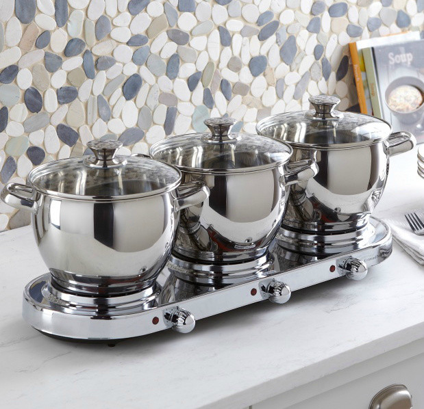 7-Piece Triple-Burner Buffet Server transitional-serveware