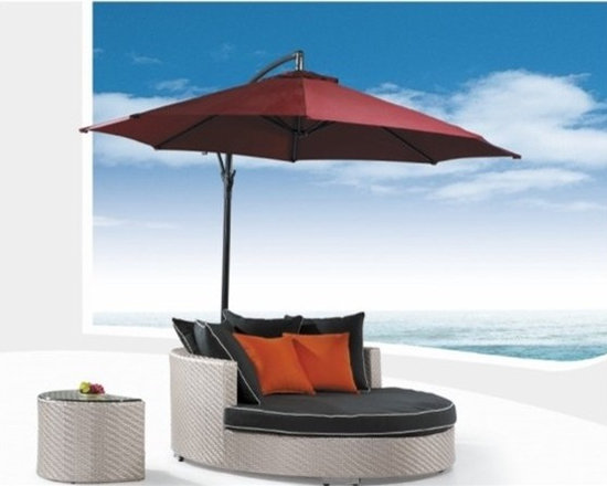 Acole Patio Chaise Lounge w/ Umbrella - This stunning Acole Patio Chaise Lounge has an extra wide frame and the set includes the umbrella!