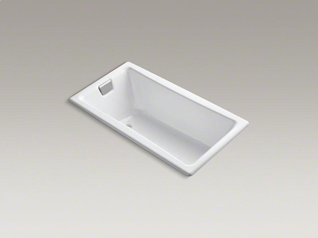 "KOHLER White Tea-for-two® 60"" X 32"" Drop-in Bath With Reversible Drain traditional-bathtubs"