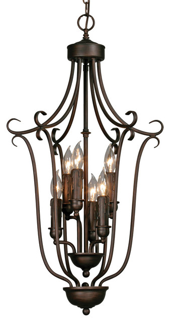 Multi-Family 6 Light Caged Foyer traditional-chandeliers