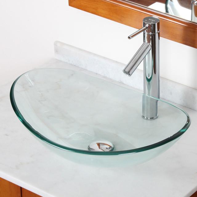 Oval Glass Vessel Sink : ELITE GD332659C Tempered Bathroom Glass Vessel Sink W. Unique Oval ...