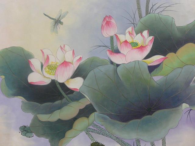 Oil Paint Canvas Art Asian Lotus Wall Decor asian-paintings