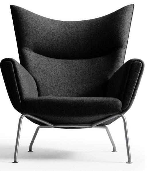 Wegner CH445 Wing Chair Dark Grey Wool, by Carl Hansen modern-armchairs-and-accent-chairs