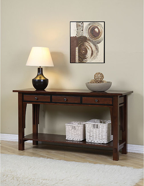 Talisman 3 drawer console table contemporary coffee - Contemporary console tables with drawers ...
