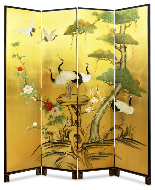 Hand Painted Gold Leaf Floor Screen Asian Screens And