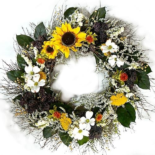 "Sunflower and Brown Wreath - 30"" dia. traditional-outdoor-holiday-decorations"