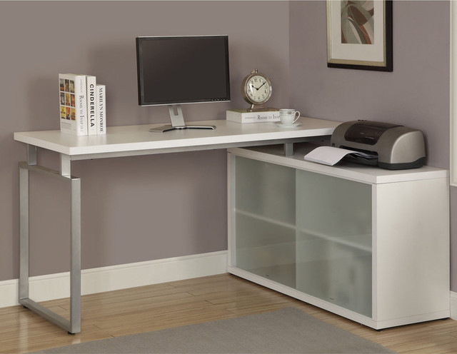 White L Shaped Desk with Frosted Glass Contemporary