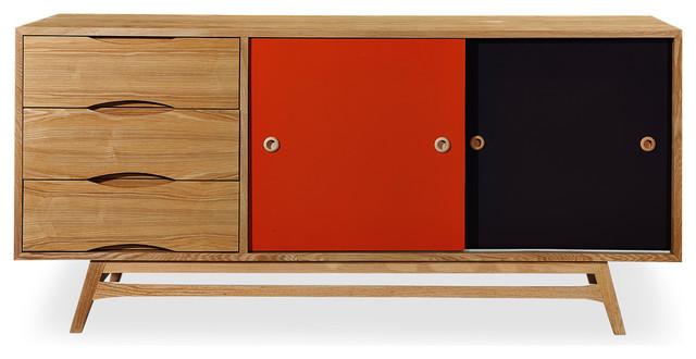 Kardiel Color Pop Mid-century Modern Sideboard Credenza, Oak/Orange & Charcoal D - Modern ...