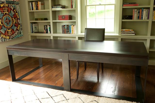 Oak and Blackened Steel Desk modern-desks
