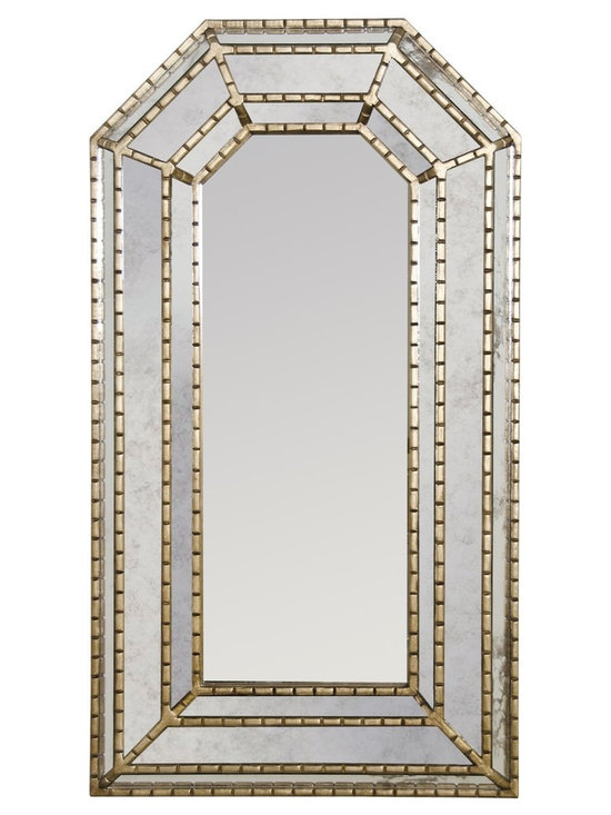 Worlds Away Murphey Silver Leaf Mirror - Champagne Silver Leaf Hand Carved Rectangular Mirror. Center Mirror Not Antiqued.