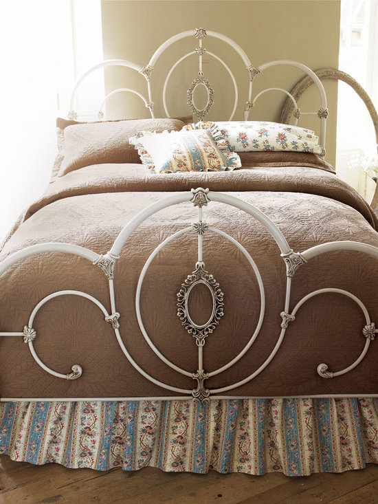 """NM EXCLUSIVE - Cameo Full Bed - WHITE - NM EXCLUSIVECameo Full BedDetailsMetal with white finish.Scroll motif.Mattress not included.Requires use of box spring (not included).Light assembly required.Twin bed 42.75""""W x 76.5""""L x 49.5""""T. Boxed weight approximately 29 lbs. Please note that this item may require additional shipping charges.Full bed 59.25""""W x 76.5""""L x 55.4""""T.Boxed weight approximately 30 lbs. Please note that this item may require additional shipping charges.Queen bed 66.25""""W x 83.5""""L. x 55.4""""T.Boxed weight approximately 87 lbs. Please note that this item may require additional shipping charges.Imported."""