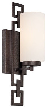 Del Ray Flemish Bronze One-Light Bath Fixture with White Opal Glass traditional-bathroom-vanity-lighting