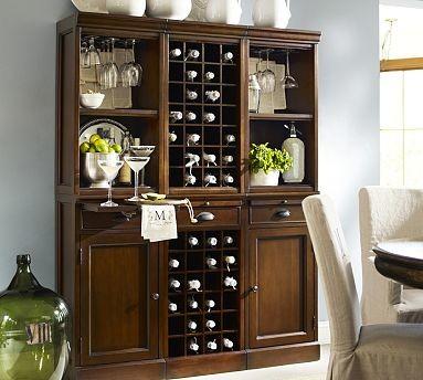 Wine Bar Wall Unit, 2 Cabinets/1 Wine Grid Base, 2 Open ...
