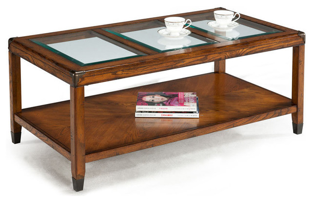 Emerald Oak And Glass Top Cocktail Table Contemporary Coffee Tables By