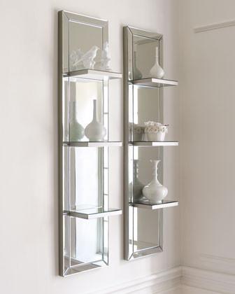 Mirrored Shelf Wall Panel traditional-display-and-wall-shelves