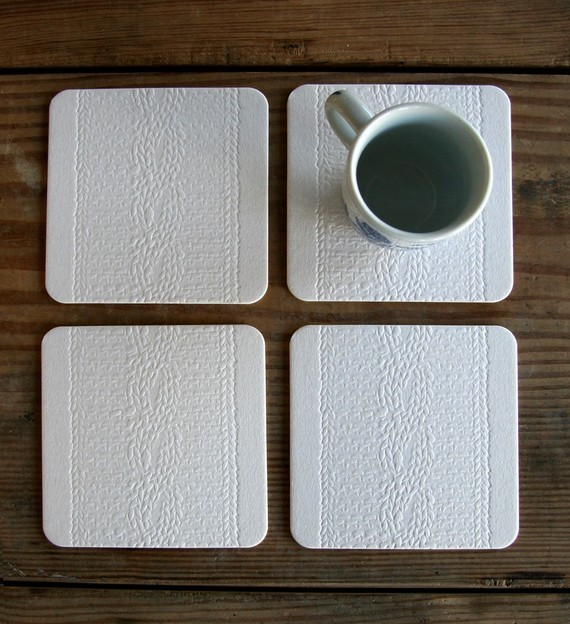 Cable Knit Coasters Set of 4 by Red Bird Ink eclectic-wine-and-bar-tools