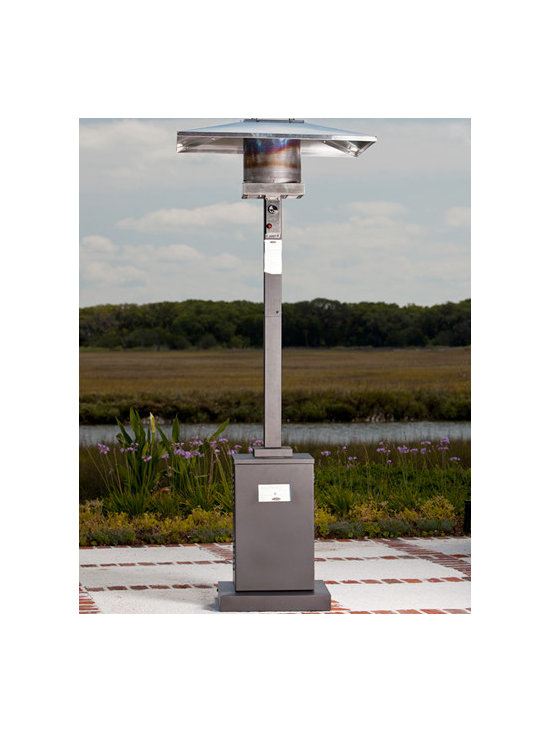 Fire Sense Square Mocha Patio Heater - The Fire Sense Square Mocha Patio Heater's 20-pound propane tank will produce a enough heat for up to 10 hours at a time. -Mantels Direct