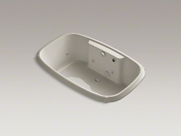 "KOHLER Portrait(R) 67"" x 42"" drop-in whirlpool with reversible drain, heater and contemporary-bathtubs"