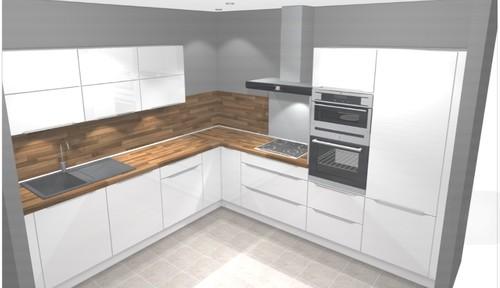 Cuisine gris blanc et bois for Credence plan de travail bois