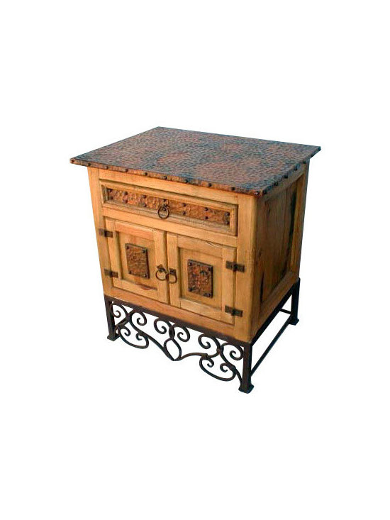 Mexican Artisans - Emilia Copper Nightstand - This old wood nightstand with copper top and copper panels sits on a forged iron base. The rustic look is complete with the addition of the iron hardware. From a rustic log cabin to a Southwest or Sante Fe style estate, our copper line of bedroom furniture will add casual elegance to your decor.