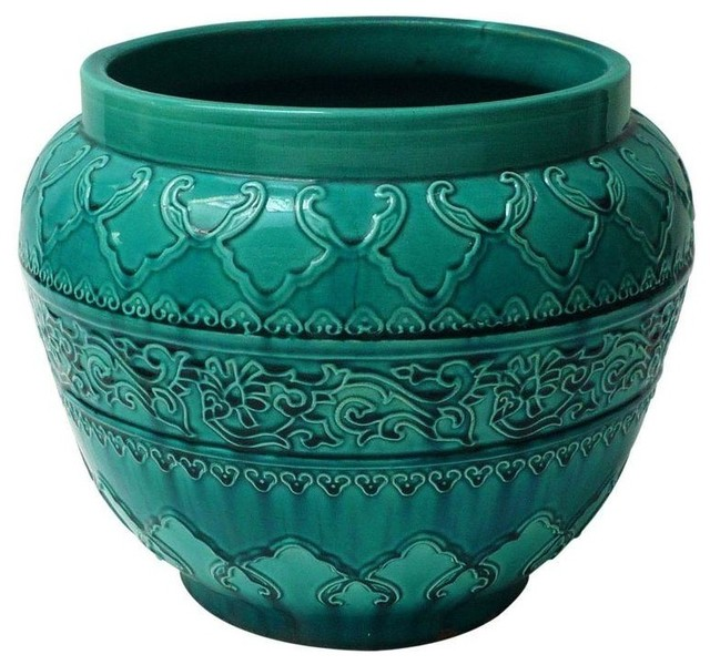 Pre Owned Turquoise Majolica Planter Mediterranean