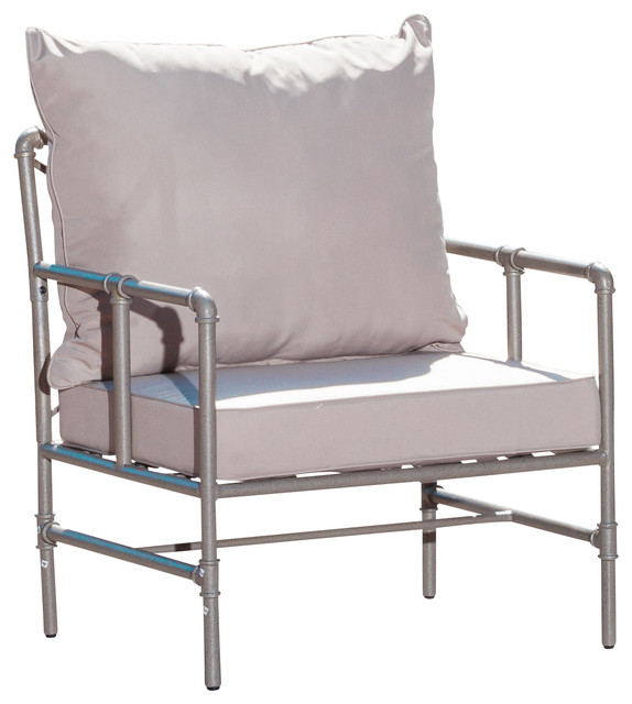 Pink contemporary living room chairs by great deal furniture - Tallahassee Outdoor Pipe Grey Armchair Contemporary