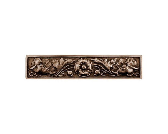 """Inviting Home - Poppy Pull (antique brass) - Hand-cast Poppy Pull in antique brass finish; 5""""W x 1-1/2""""H; Product Specification: Made in the USA. Fine-art foundry hand-pours and hand finished hardware knobs and pulls using Old World methods. Lifetime guaranteed against flaws in craftsmanship. Exceptional clarity of details and depth of relief. All knobs and pulls are hand cast from solid fine pewter or solid bronze. The term antique refers to special methods of treating metal so there is contrast between relief and recessed areas. Knobs and Pulls are lacquered to protect the finish. Detailed Description: Poppy knobs are part of English Garden Hardware Collection. Reflecting the meticulous effort that produced these stunning gardens from a bygone era each of the knobs and pulls in this line features individually hand-cast and hand-finished design work. There are soft graceful roses and poppies reminiscent of classic beauty and elegance. While others like Dianthus Knobs and Mountain Ash knobs feature crisply detailed styling with colorful background. Each knob's design marries Mother Nature and Craftsmanship into decorative hardware that adds beauty to any room of your home."""