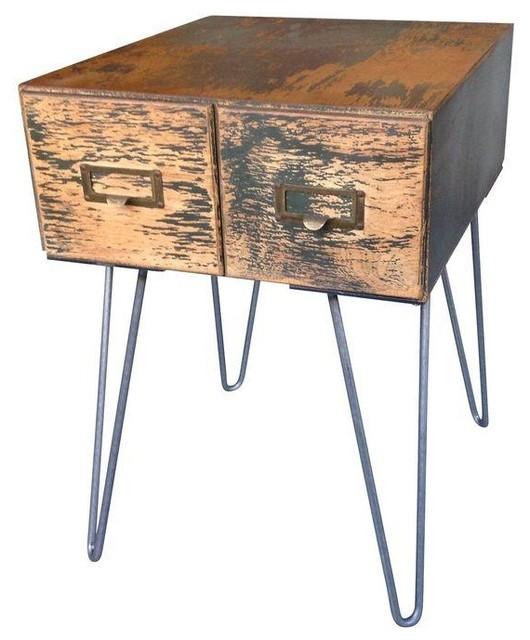 Vintage Card Catalog Side Table Modern Side Tables And End Tables By Chairish