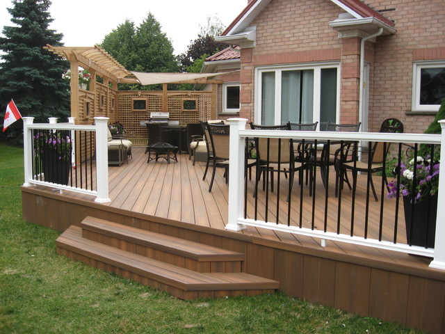 Composite decking p v c decking traditional deck for Synthetic decking