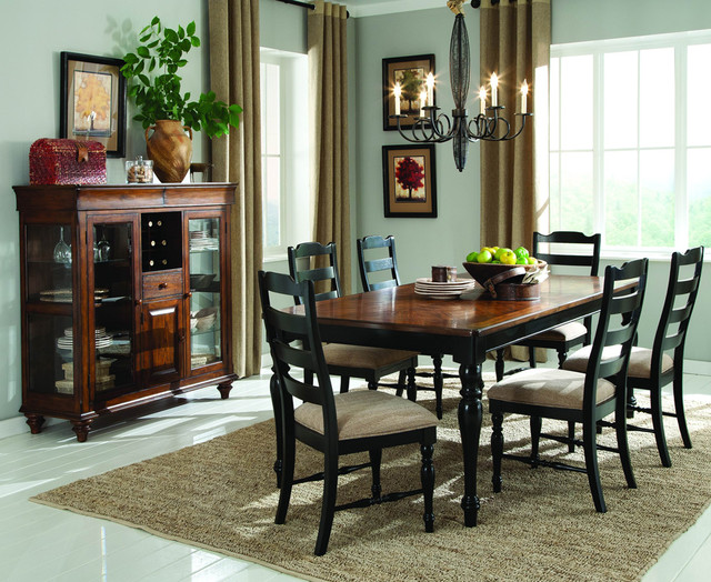 piece dining room set in black and brown traditional dining sets