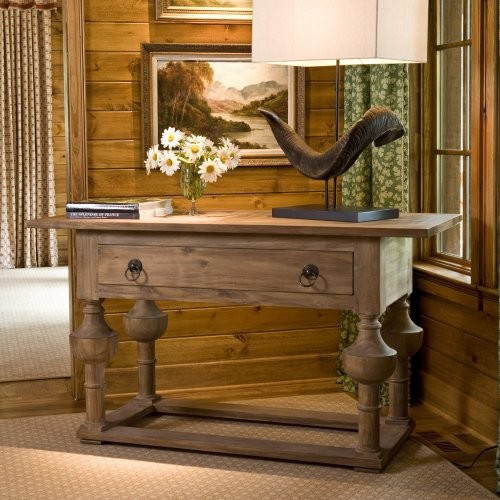 Farm Hall Table with Antique Finish traditional-side-tables-and-end-tables