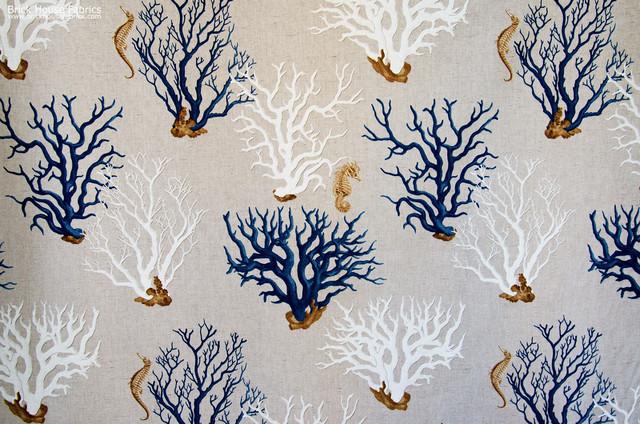Blue coral seahorse fabric beach-style-fabric