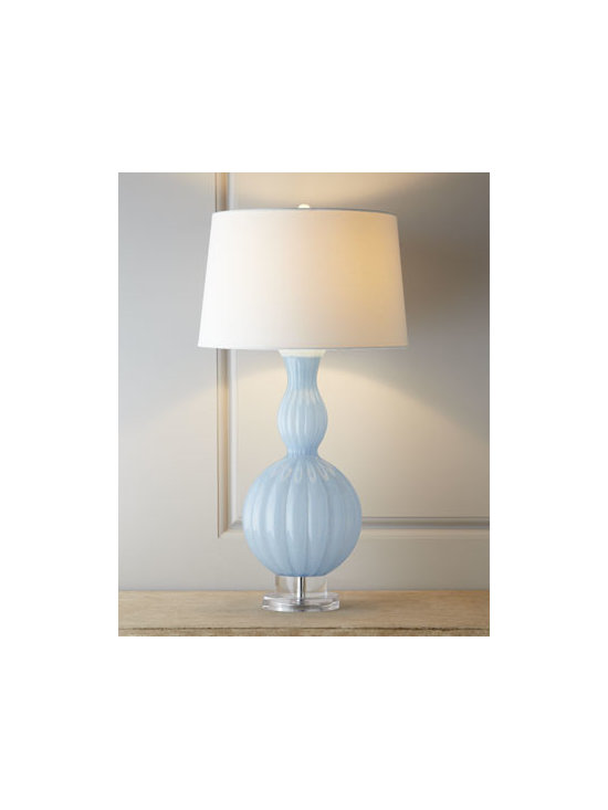 "Horchow - Sky-Blue Glass ""Gourd"" Lamp - Clean lines and a classic shape make this lamp ideal for any setting. We love the balance created by the juxtaposition of the curvy sky-blue base with the flared profile of the creamy shade. Made of glass. Linen shade with styrene backing. Three-way...."